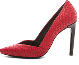 Proenza Schouler Python Embossed Leather Pumps in Red