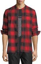 Ovadia & Sons Crosby Raw-Edge Plaid Shirt