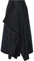 Cédric Charlier Asymmetric Pinstriped Wool-blend Skirt - Midnight blue