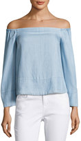 Rachel Roy Off-the-Shoulder Chambray Top, Light Blue