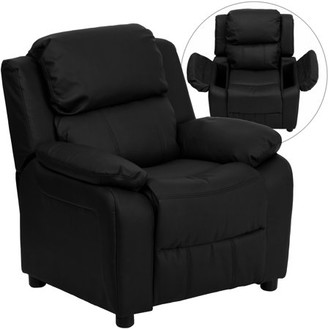Flash Furniture Deluxe Padded Contemporary Black LeatherSoft Kids Recliner with Storage Arms