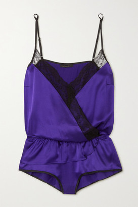 Kiki de Montparnasse Le Shock Lace-trimmed Silk-satin Playsuit - Purple