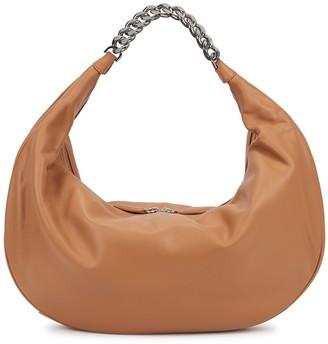 STAUD Sasha Large Brown Leather Shoulder Bag