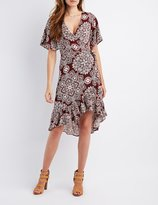 Charlotte Russe Floral Ruffle-Trim Wrap Dress