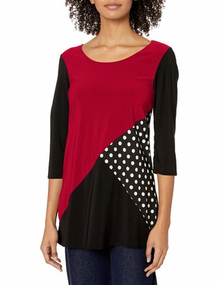 Star Vixen Women's 3/4 Sleeve Scoop Neck Tunic-Length Tri Colorblock Ity Top with Polka Inset