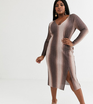 ASOS DESIGN Curve long sleeve v-neck glitter ombre midi dress with thigh split in brown