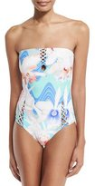 6 Shore Road Marina Bandeau One-Piece Swimsuit, Waterfall Floral