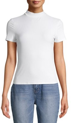 No Boundaries Juniors' Short Sleeve Mock Neck T-Shirt