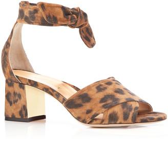 Marion Parke Bella Leopard Suede Crisscross Ankle-Tie Sandals