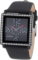 Haurex Italy Women's Diverso PC Square Dial Crystal Bezel Leather Watch NF369DNN