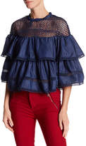 Gracia Layered Ruffle Denim Blouse