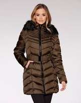 Quiz Faux Fur Hood Trim Padded Jacket