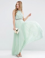 Asos WEDDING Embellished Crop Top Maxi Dress