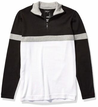 DKNY Men's Colorblock Long Sleeve Cotton 1/4 Zip Sweater