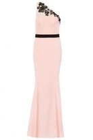 Quiz Pink And Black Mesh One Shoulder Maxi Dress