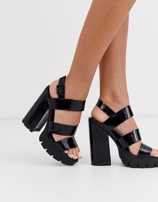 Asos Design DESIGN Neither chunky platform heeled sandals in black
