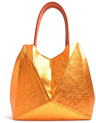 Ostwald Finest Couture Bags Origami Tote Masterpiece In Copper. Red & Cognac