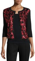 Michael Simon Sequined Floral Button-Front Cardigan