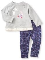 Tea Collection Moon Rabbit 2-Piece Top and Pant Set in Grey/Blue