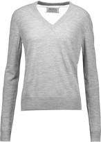 Maison Margiela Tulle-paneled knitted sweater