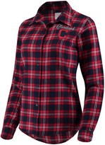 Unbranded Women's Navy Cleveland Indians Flannel Button-Up Long Sleeve Shirt