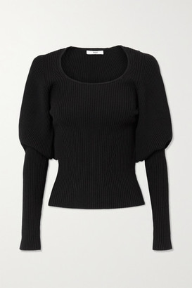 Safiyaa Beryl Ribbed Wool-blend Top - Black