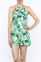 Do & Be Leaf Print Sleeveless Romper