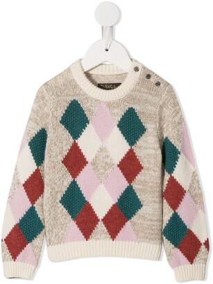 Velveteen Ally argyle knit jumper