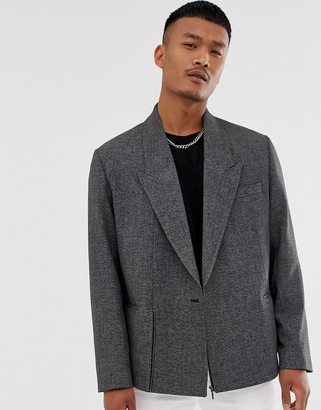 Asos Design DESIGN boxy oversized cropped double breasted blazer in charcoal with zip-Grey