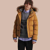 Burberry Down-filled Cashmere Jacket With Detachable Fur Trim