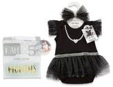 Baby Aspen Infant Girl's My First Party Dress, Headband & Milestone Blocks Set