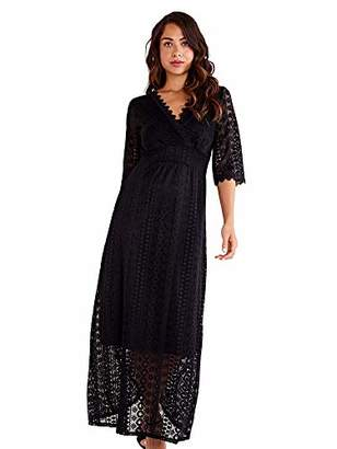 Yumi Women's Wrap Front Lace Maxi Dress Casual