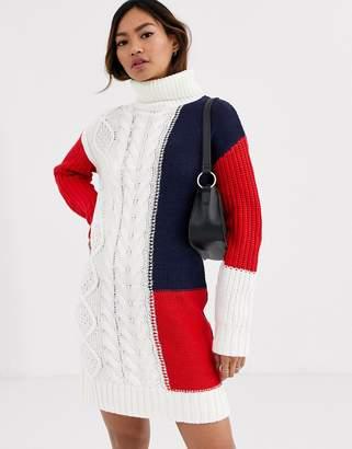 Brave Soul mixture jumper dress-Brown