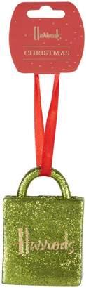 Harrods Glitter Bag Christmas Decoration