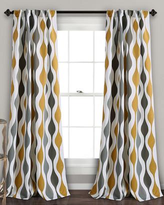 Triangle Home Fashion Mid Century Geo Room Darkening Window Curtain Panels