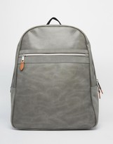 Asos Backpack In Grey Faux Leather With Contrast Trims