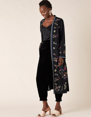 Monsoon Raja Embroidered Kimono in Recycled Fabric Black