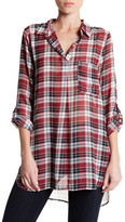 Bobeau V-Neck Plaid Tunic