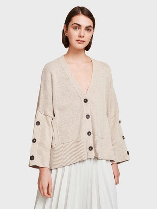 White + Warren Cotton Button Sleeve Cardigan