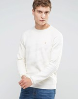 Farah Sweater With Textured Self Stripe In Slim Fit White