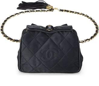 Chanel Black Quilted Satin Kiss Lock Belt Bag