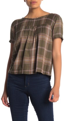 Caslon Button Back Printed Woven Shirt (Regular & Petite)