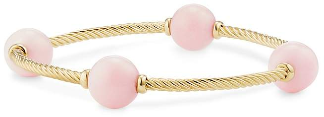 David Yurman Mustique Four Station Bangle Bracelet with Pink Opal in 18K Yellow Gold