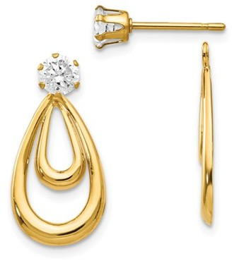 Generic 14K Yellow Gold Polished w/CZ Stud Earring Jackets