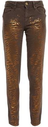 Just Cavalli Metallic Zebra-print Mid-rise Skinny Jeans