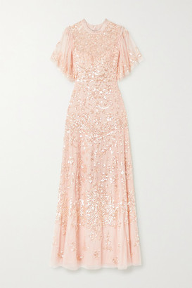 Needle & Thread Honesty Flower Sequin-embellished Tulle Gown - Pastel pink
