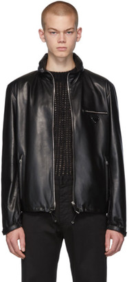 Prada Black Leather Triangle Jacket