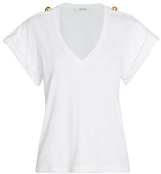 Derek Lam 10 Crosby Lynne V-Neck Epaulette T-Shirt