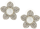 Fragments for Neiman Marcus Pave White Crystal & Pearly Flower Button Earrings