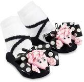 Mud Pie Poodle Socks in Black/Pink